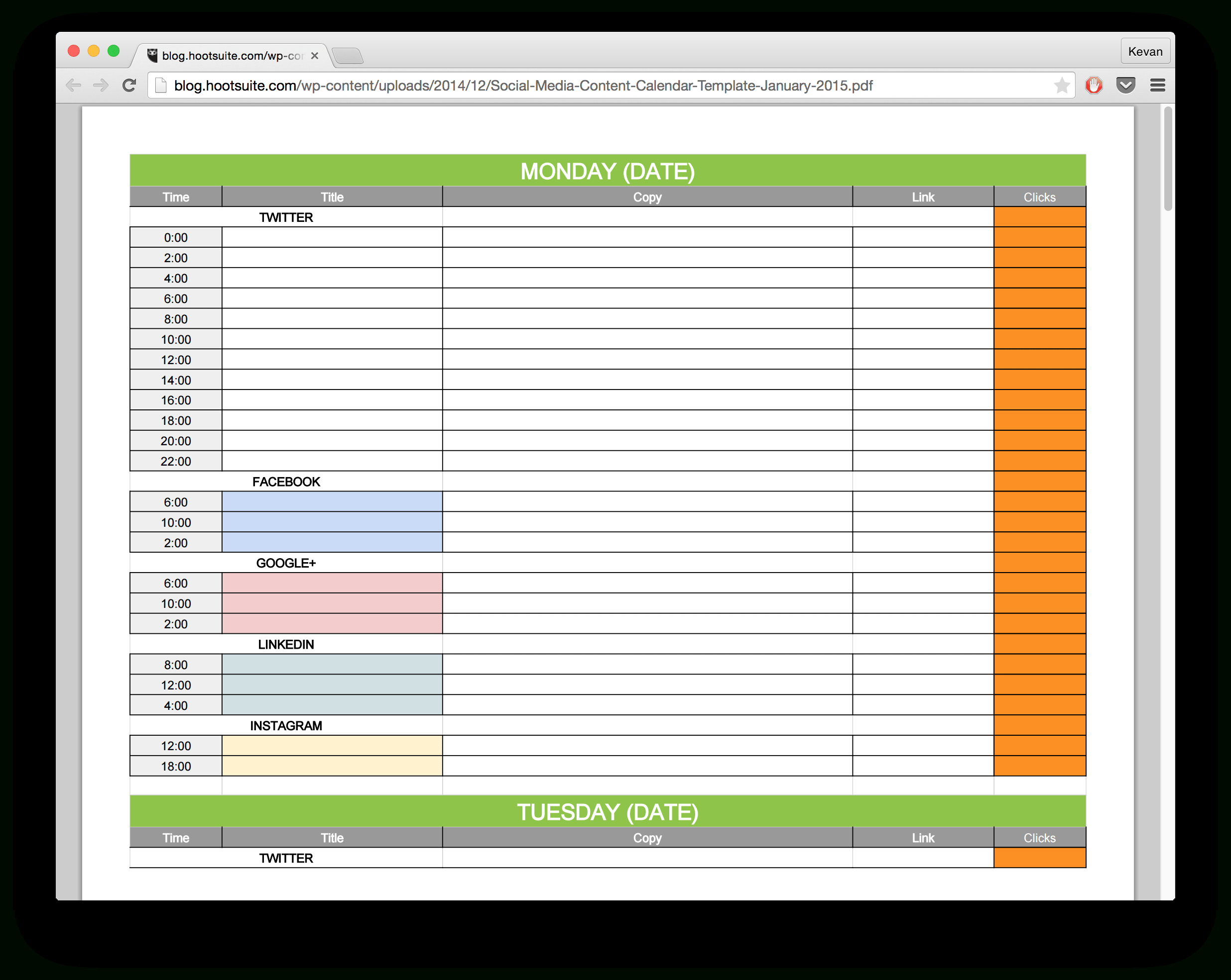 Planning Spreadsheet Template Inside 15 New Social Media Templates To Save You Even More Time