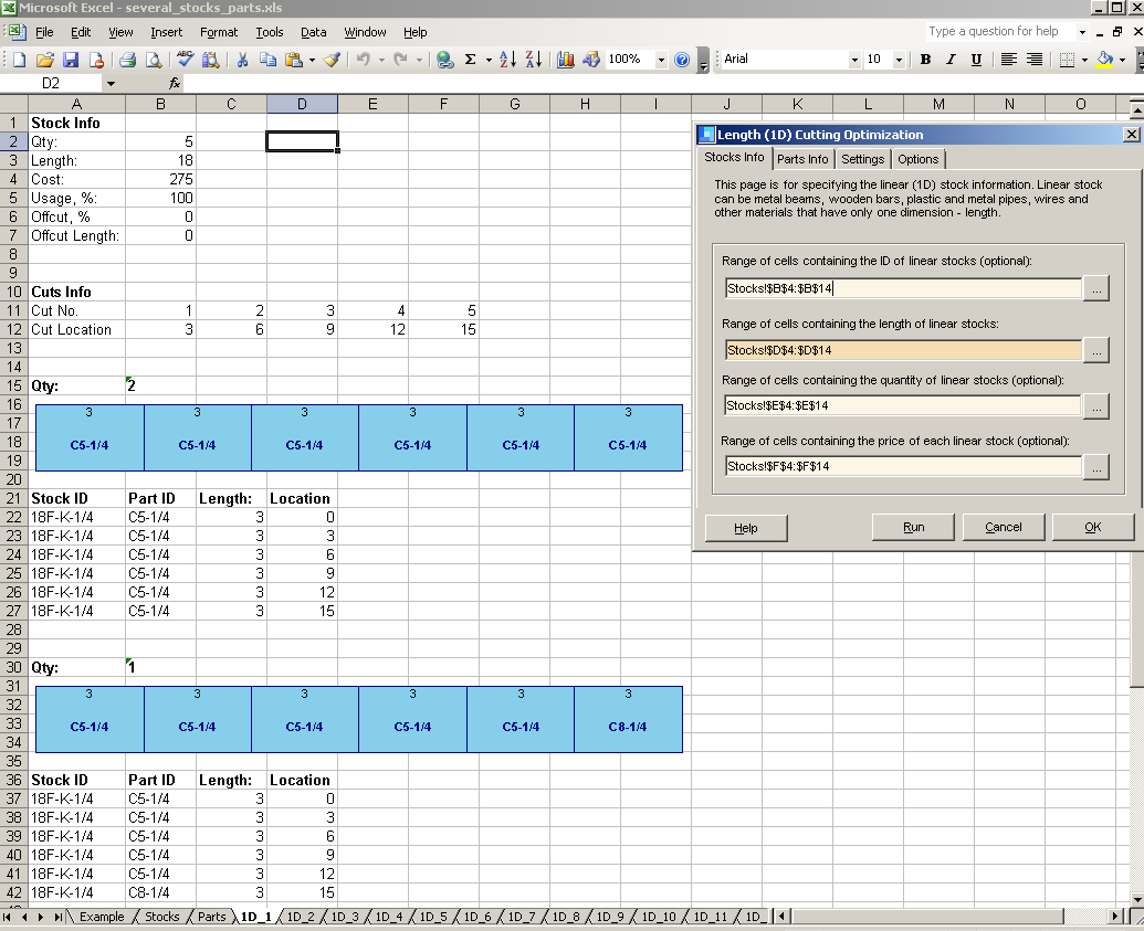 Plasma Cutting Cost Spreadsheet With Regard To Shareware 1Dcutx  Length Cutting Addin For At Download Collection