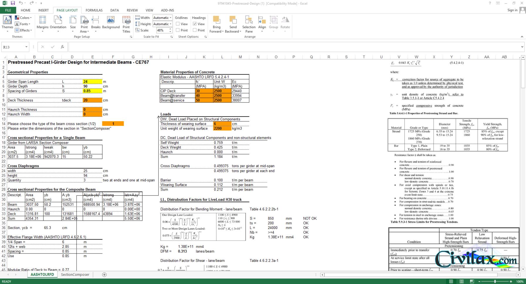Plate Girder Design Spreadsheet With Regard To Prestressed Precast Igirder Design Spreadsheet