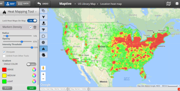 Plot Locations On Google Maps From Spreadsheet Within Heat Map Software  Heat Map Generator  Maptive