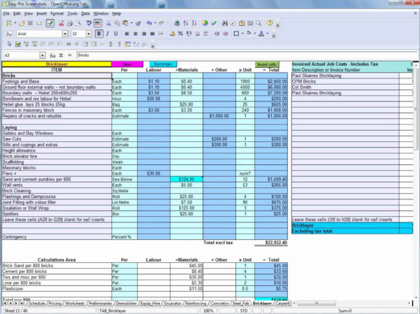 Plumbing Estimating Excel Spreadsheet In Construction Bid Template Free Excel Along With Construction