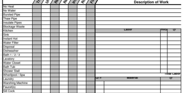 Plumbing Material Spreadsheet In Construction Take Off Spreadsheets Plumbing Estimate Worksheet
