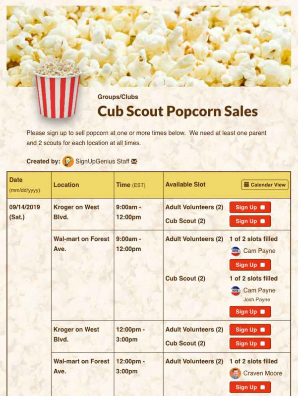 Popcorn Sales Tracking Spreadsheet For Create Sign Ups For Organizing Scouting Volunteers And Events!