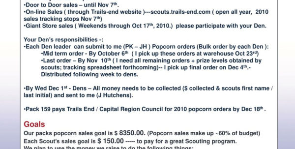 Popcorn Sales Tracking Spreadsheet Intended For Ppt  Our 2010 Popcorn Sales Have Begun And Will End On Sunday Nov 7