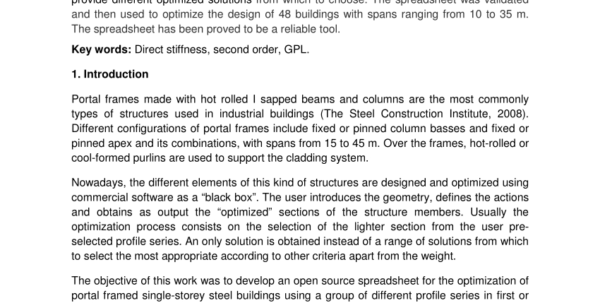 Portal Frame Design Spreadsheet Intended For Pdf Open Source Spreadsheet For Optimizing Portal Framed Single