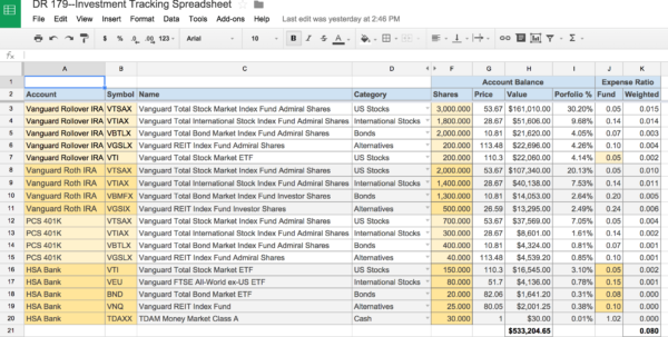 Portfolio Rebalancing Excel Spreadsheet Inside An Awesome And Free Investment Tracking Spreadsheet