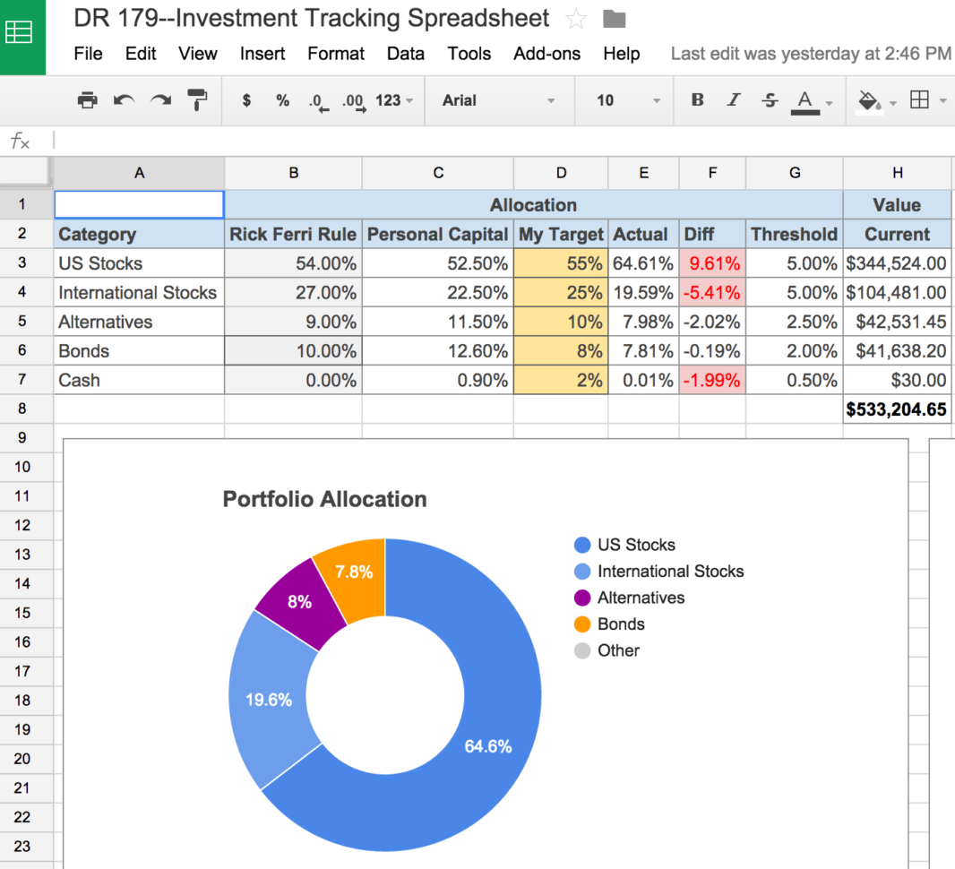 Portfolio Rebalancing Excel Spreadsheet With Regard To An Awesome And Free Investment Tracking Spreadsheet