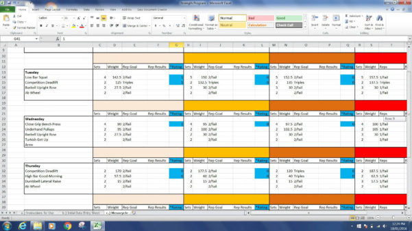 Powerlifting Excel Spreadsheet With Regard To Powerlifting Program Spreadsheet Routine Programprogramming
