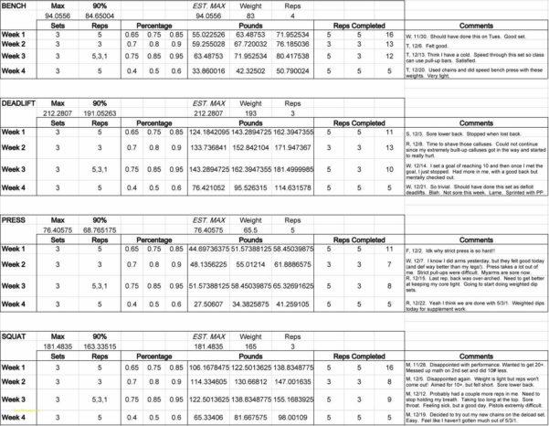 Powerlifting Program Spreadsheet With 5 3 1 Spreadsheet  Awal Mula