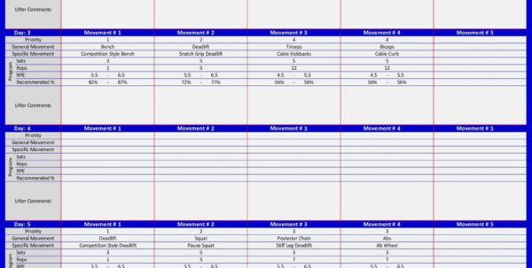 Powerlifting Program Spreadsheet With Regard To Sheiko Day Program Spreadsheet Calculator Powerlifting Routi On Dup