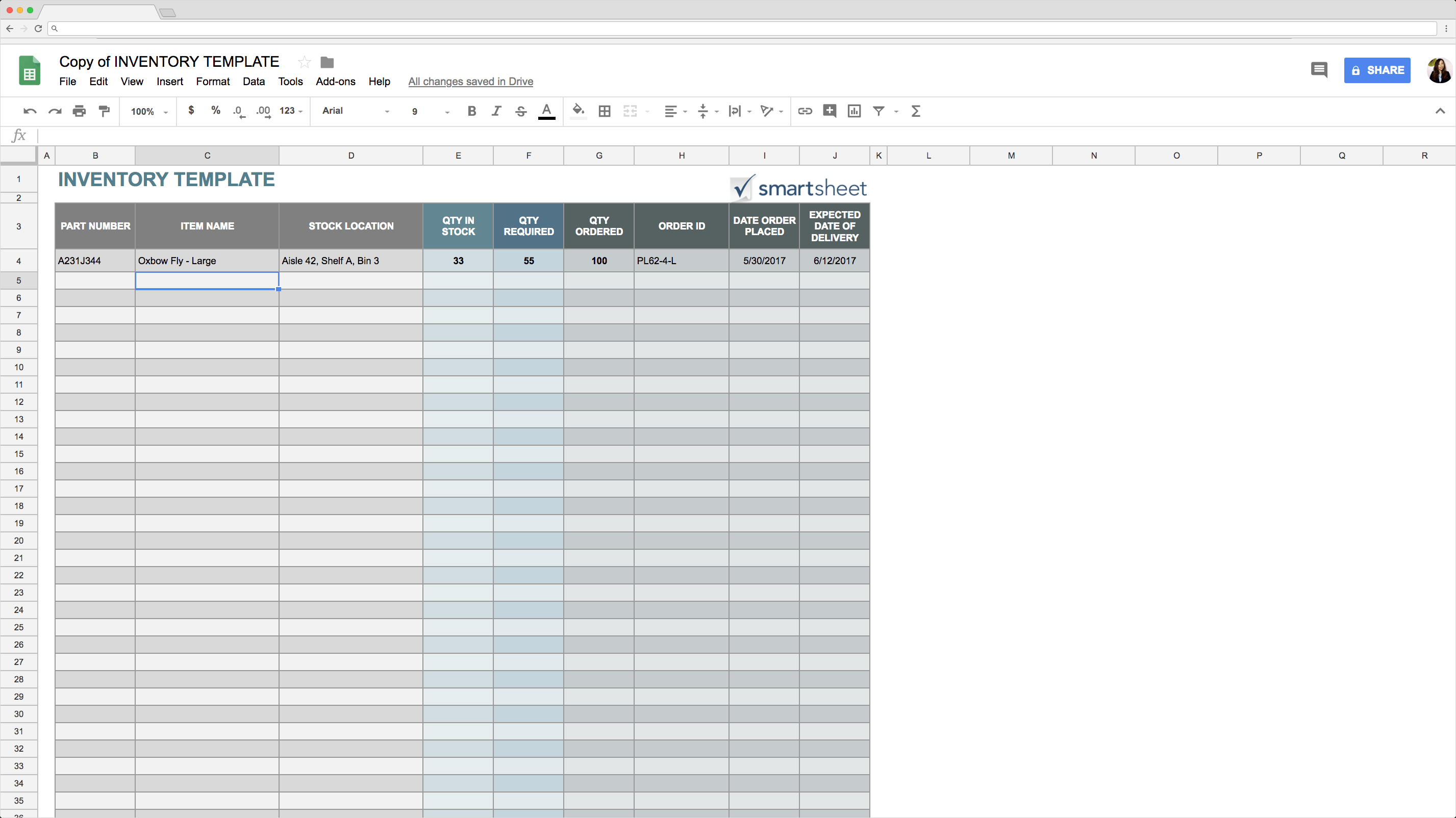 Ppe Inventory Spreadsheet Throughout Top 5 Free Google Sheets Inventory Templates · Blog Sheetgo