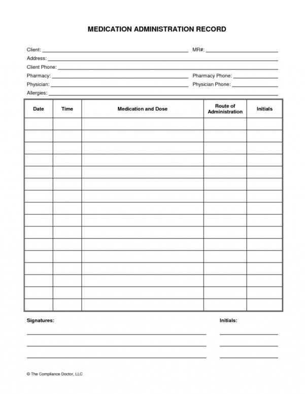 Prescription Refill Spreadsheet Inside Medication Administration Record Form Organization Pinterest Sheet
