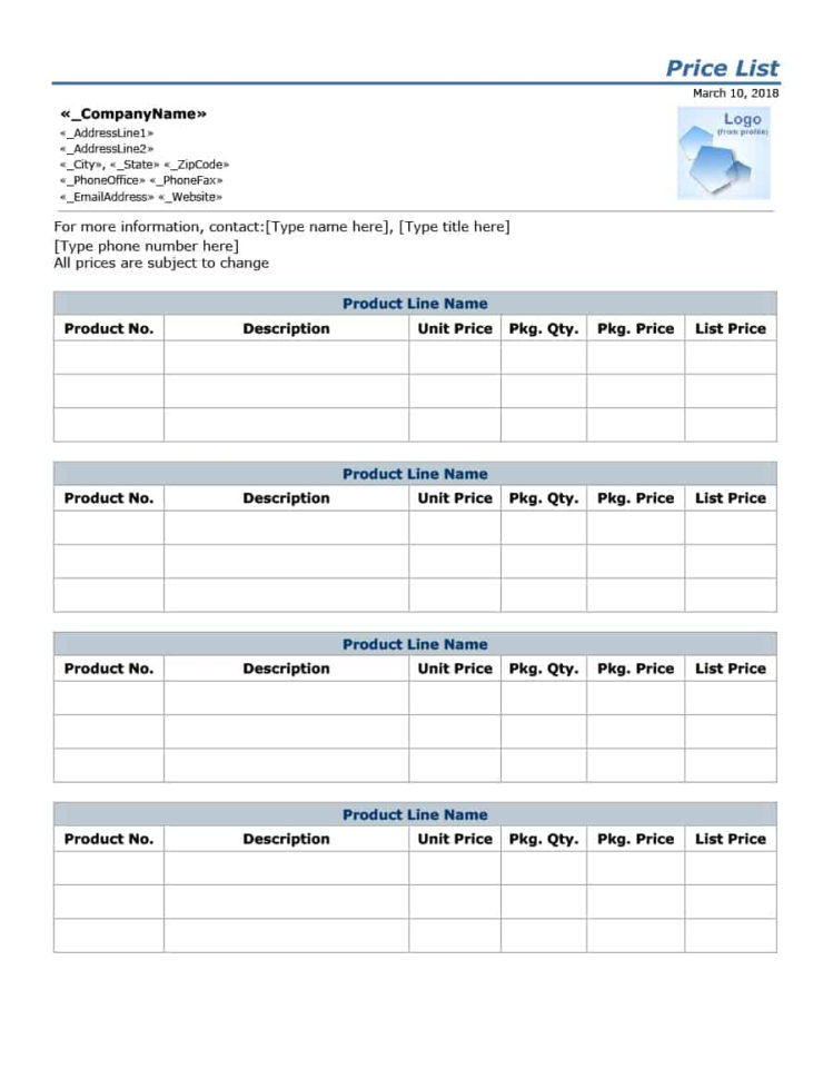 Pricing Spreadsheet Template For 40 Free Price List Templates Price Sheet Templates  Template Lab
