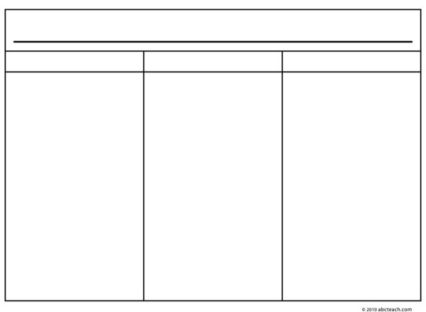 Printable 3 Column Spreadsheet In Printable: 3 Column Spreadsheet Printable