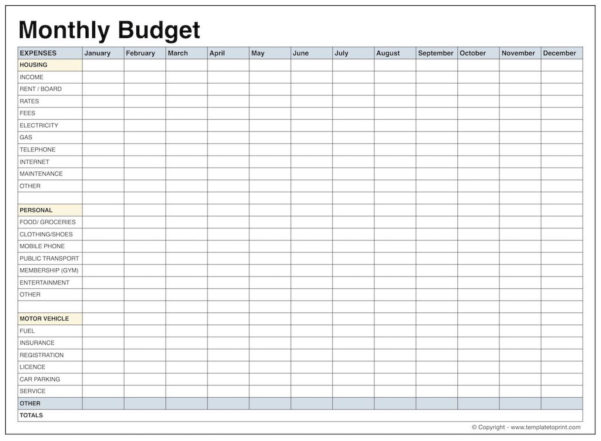 Printable Budget Spreadsheet Throughout Printable Budget Worksheet Pdf  Ellipsis Wines