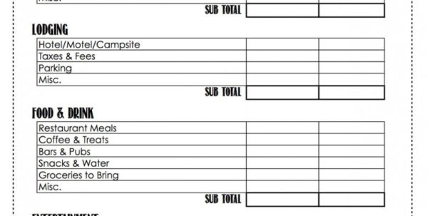 Printable Budget Spreadsheet Within Vacation^ Budget^ Worksheet^