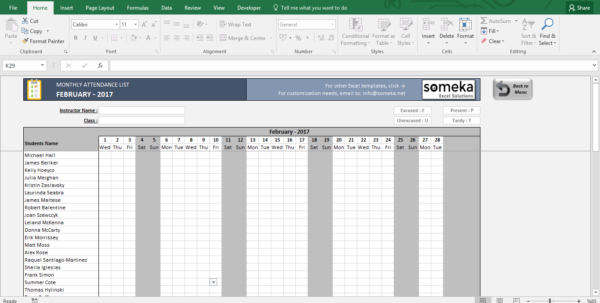 Printable Excel Spreadsheet With Regard To Attendance Sheet  Printable Excel Template  Free Download