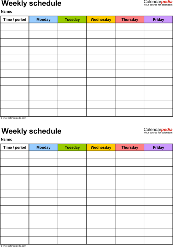 Printable Excel Spreadsheet With Regard To Free Weekly Schedule Templates For Excel  18 Templates