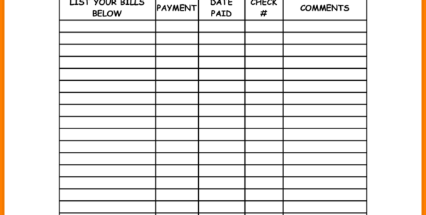 Printable Spreadsheet For Bills Pertaining To Excel Templates Budget Monthly Household Bills And Printable Monthly