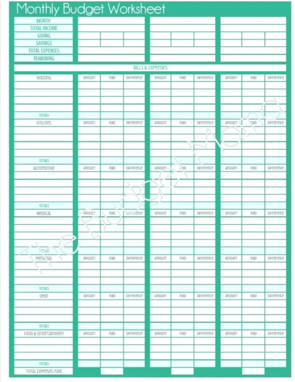 Printable Spreadsheet For Bills With Bill Budgeting Worksheet  Kasare.annafora.co