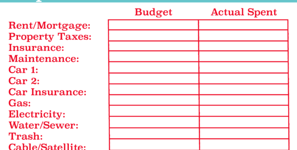 Printable Spreadsheet For Bills With Regard To Personal Budget Worksheets  Rent.interpretomics.co