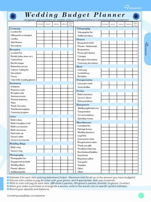 Printable Wedding Budget Spreadsheet For Wedding Budget Spreadsheet The Knot Planning Checklist Printable
