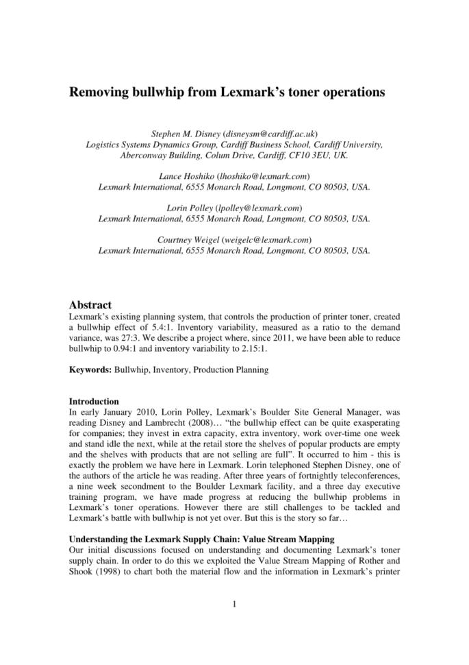 Printer Toner Inventory Spreadsheet Intended For Pdf Removing Bullwhip From Lexmark's Toner Operations