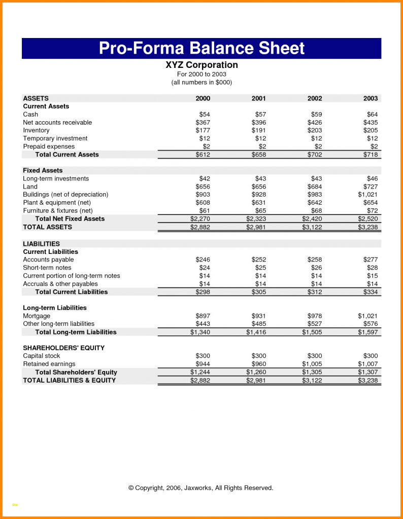Pro Forma Spreadsheet Template For Year End Financial Statement Template Pro Forma Income Beautiful 10