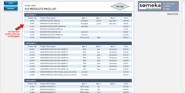 Product Pricing Spreadsheet For Price List Template In Excel  Free Download  Printable Spreadsheet