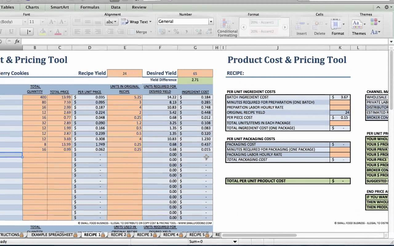 Product Pricing Spreadsheet Regarding Food Product Cost Pricingeadsheet Download Xls Small Business