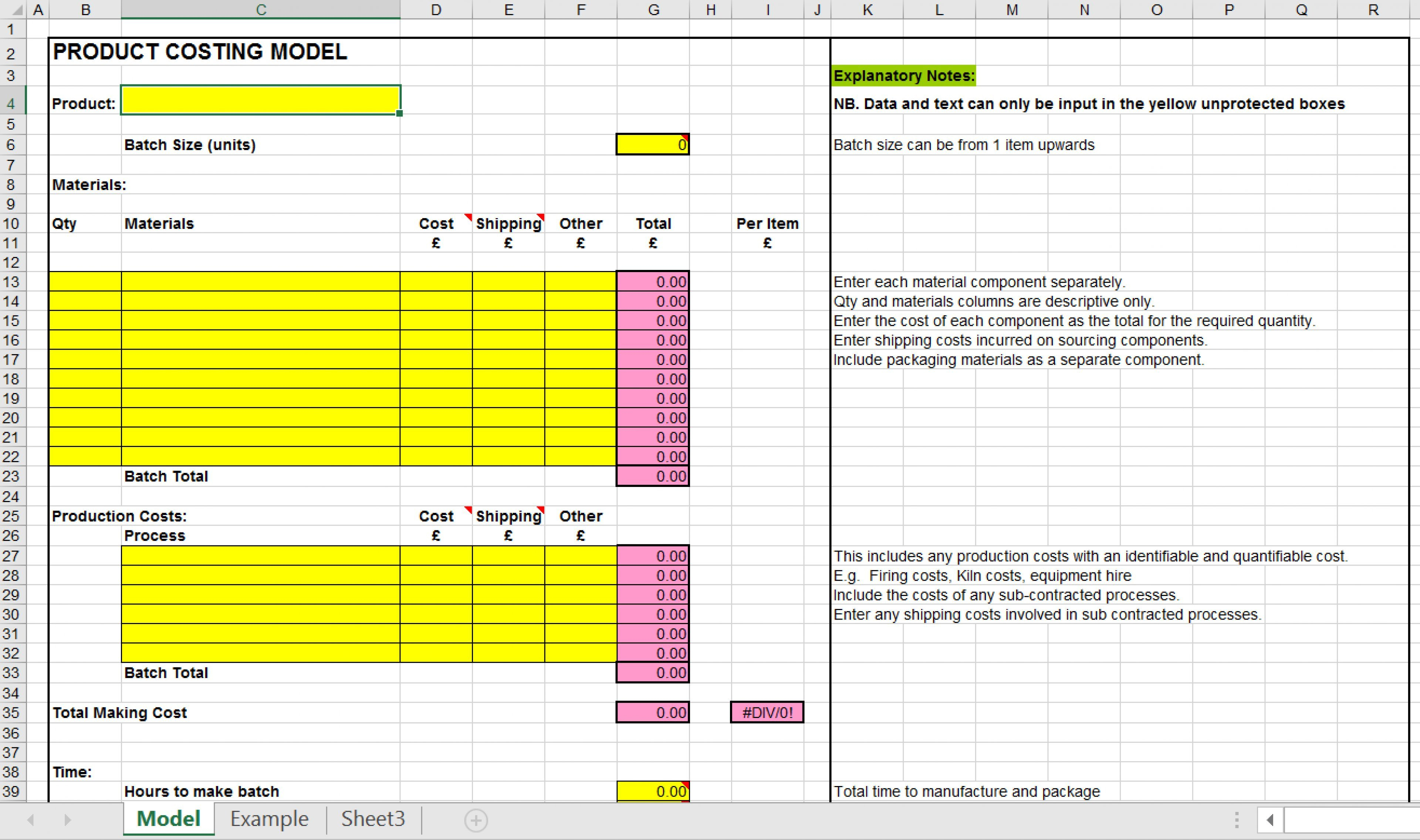 Product Pricing Spreadsheet Templates Inside Pricing Your Product: Product Costing Excel Template  Eloquens