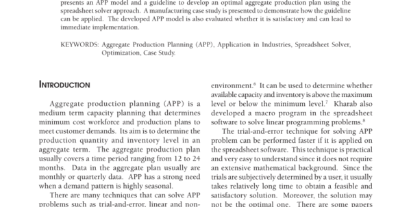 Production Planning Spreadsheet With Pdf Aggregate Production Planning Using Spreadsheet Solver: Model