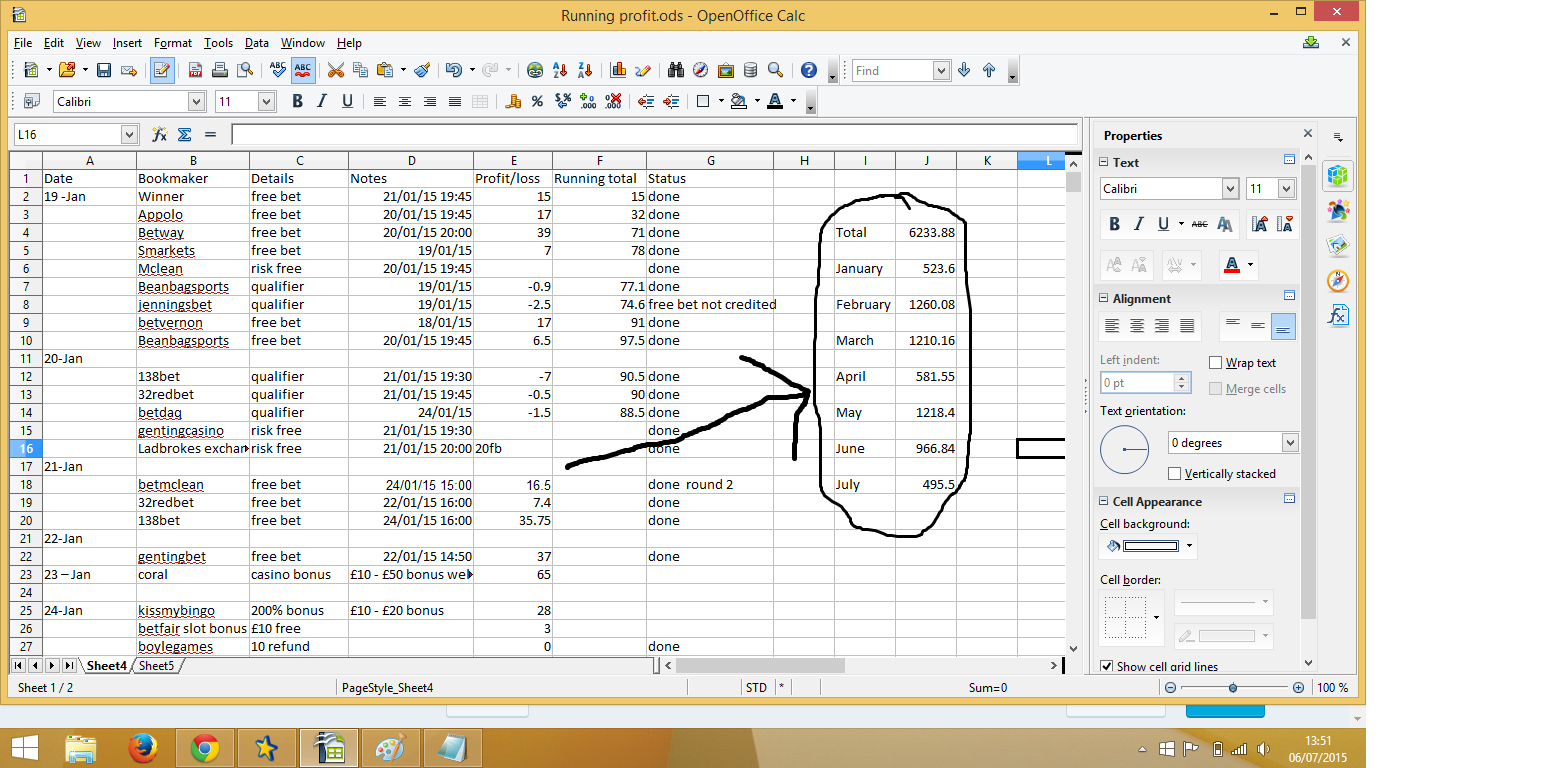 """Profit Accumulator Spreadsheet Within Renegade Living  """"how I Make £1000£2000 A Month Matched Betting"""