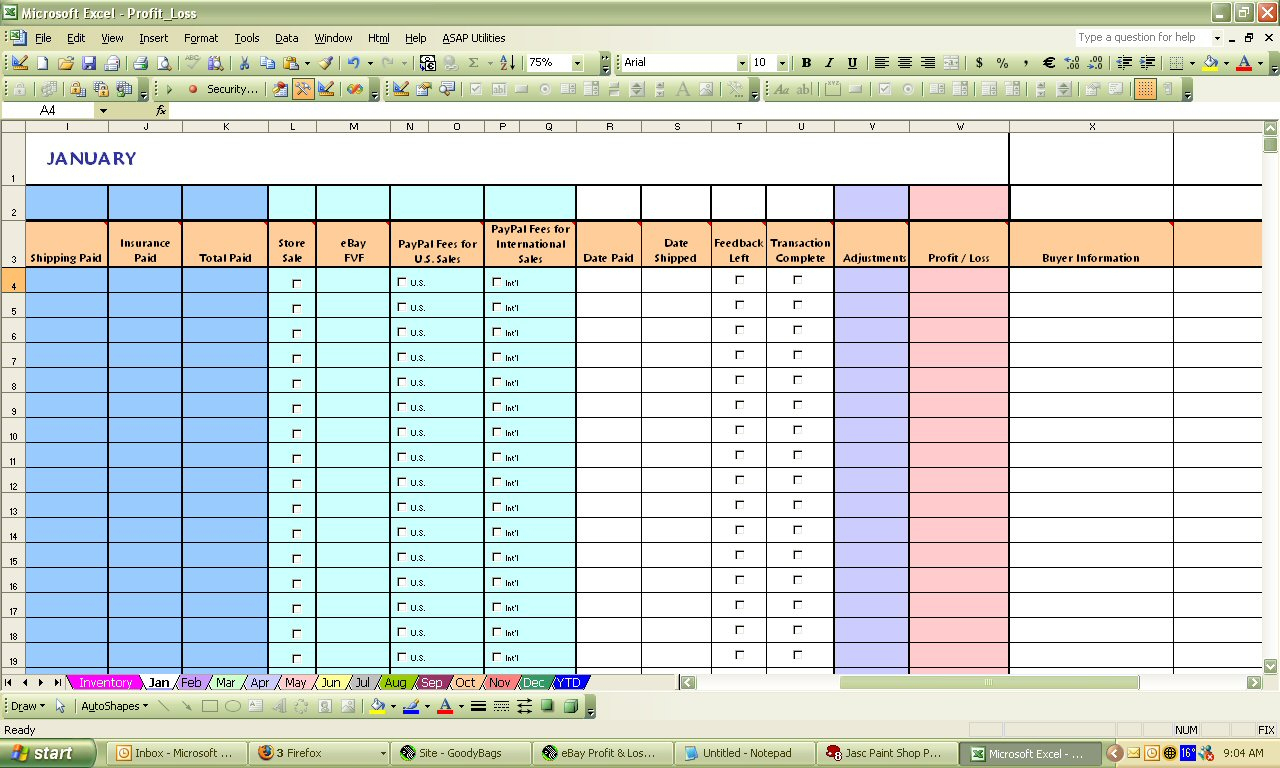 Profit And Loss Excel Spreadsheet Throughout Ebay Profit  Loss Excel Spreadsheet
