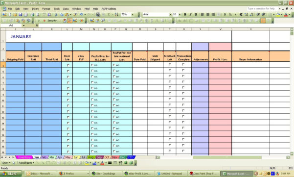 Profit And Loss Spreadsheet Pertaining To Ebay Profit  Loss Excel Spreadsheet