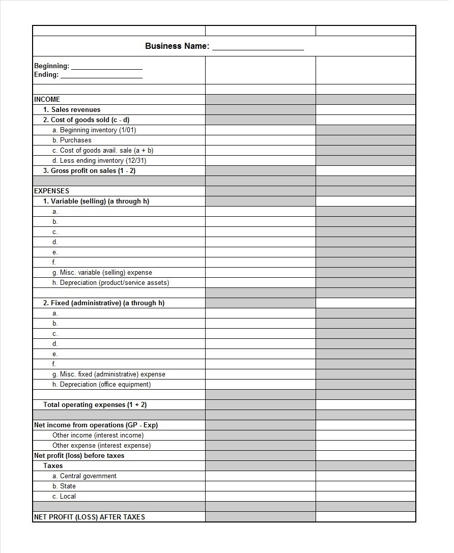 Profit And Loss Spreadsheet Small Business Pertaining To 35  Profit And Loss Statement Templates  Forms