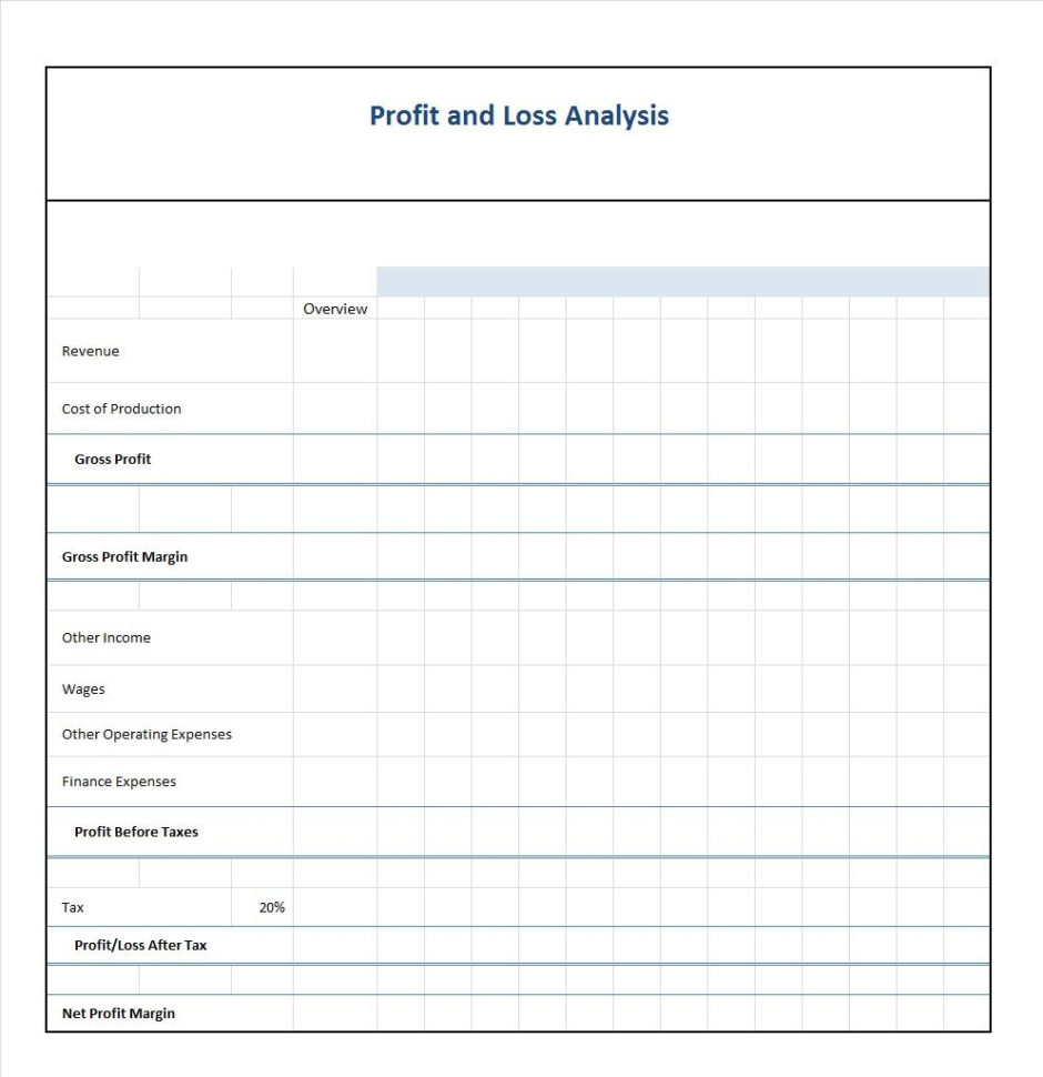 Profit Loss Spreadsheet Free With 35  Profit And Loss Statement Templates  Forms