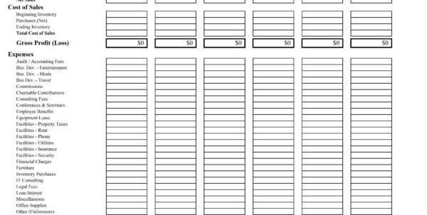 Profit Loss Spreadsheet Within Business Profit And Loss Spreadsheet Statement Invoice Template
