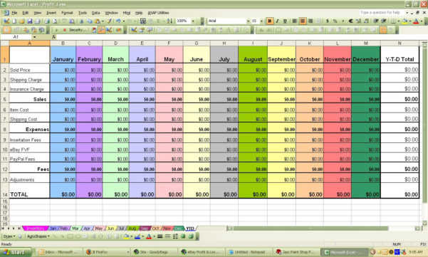 Profit Spreadsheet For Ebay Profit  Loss Excel Spreadsheet