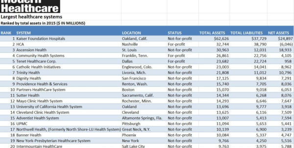 Profit Spreadsheet Within Hospital Systems: 2016, Rankedtotal Assets Excel Spreadsheet