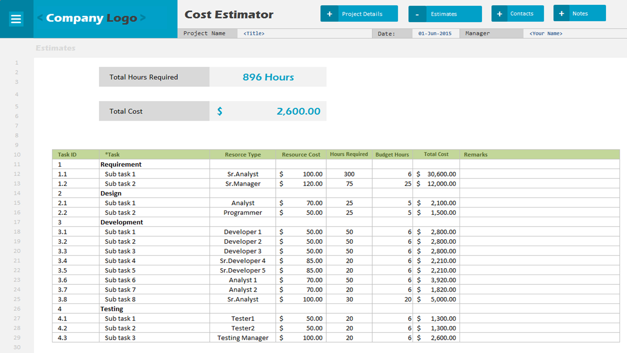 Project Cost Estimate Spreadsheet Intended For Cost Estimator  Excel Project Management Templates