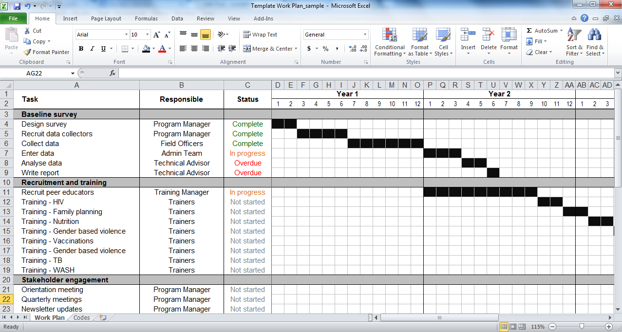 Project Plan Excel Spreadsheet Regarding Work Plan Template  Tools4Dev