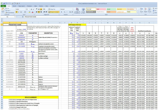 Projection Spreadsheet In Coordinate System  Evaluating Map Projection Scale Error