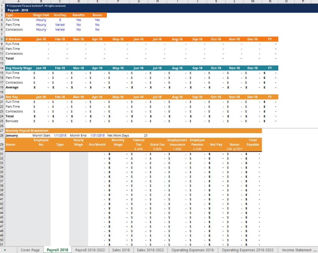 Projection Spreadsheet Throughout Financial Projection Template  Download Free Excel Template