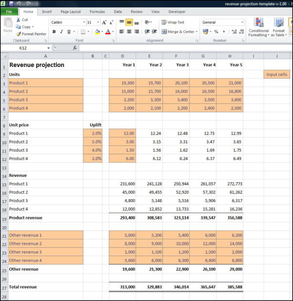 Projection Spreadsheet With Revenue Projections Calculator  Plan Projections