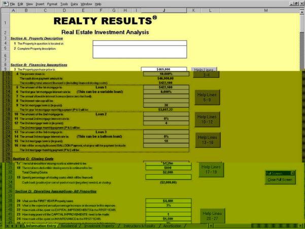 Property Analysis Spreadsheet Pertaining To Investment Property Cash Flow Analysis Spreadsheet