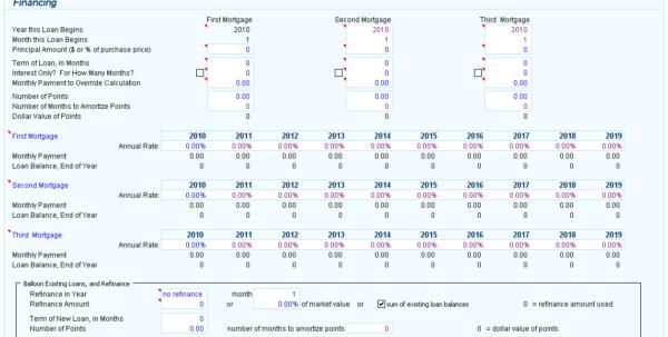 Property Cash Flow Spreadsheet Inside Cashflowresalefinancingassumptions Real Estate Investment Analysis