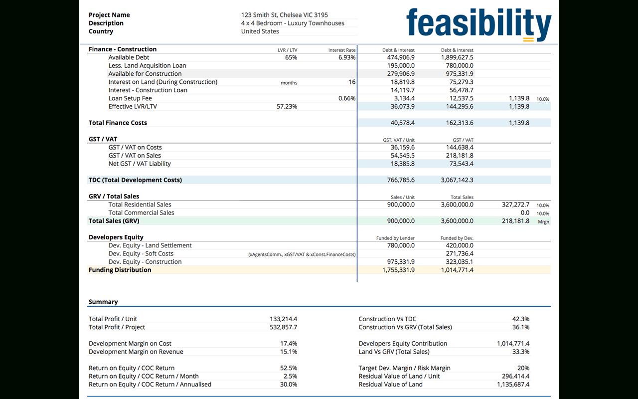 Property Development Feasibility Study Spreadsheet In Smart Feasibility Calculator Property Development System