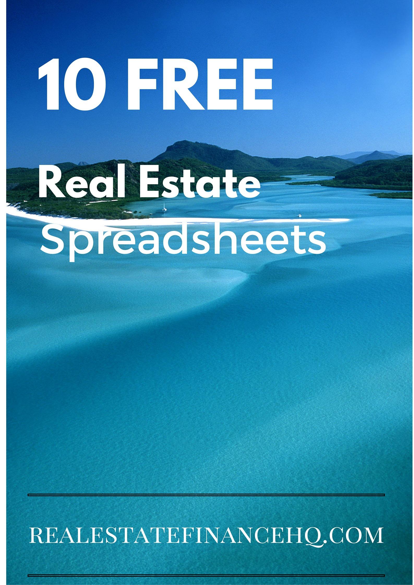 Property Evaluator Spreadsheet Regarding 10 Free Real Estate Spreadsheets  Real Estate Finance