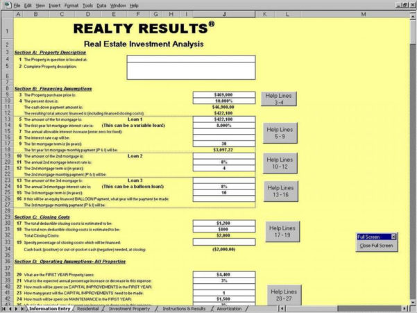 Property Investment Analysis Spreadsheet Throughout Free Rental Property Investment Analysis Calculator Excel